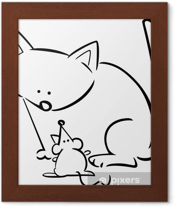 Boyama Kedi Ve Fare çizgi Film Doodle çerçeveli Poster Pixers