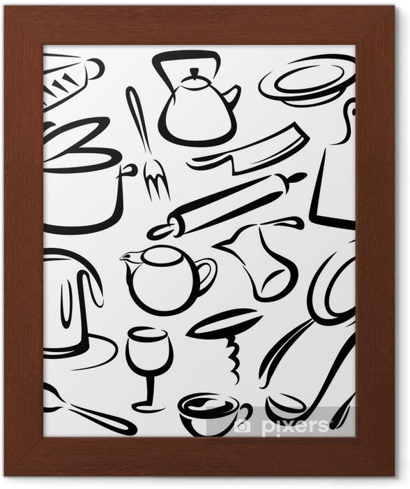 Poster in Cornice Grande set di utensili da cucina, disegno ...