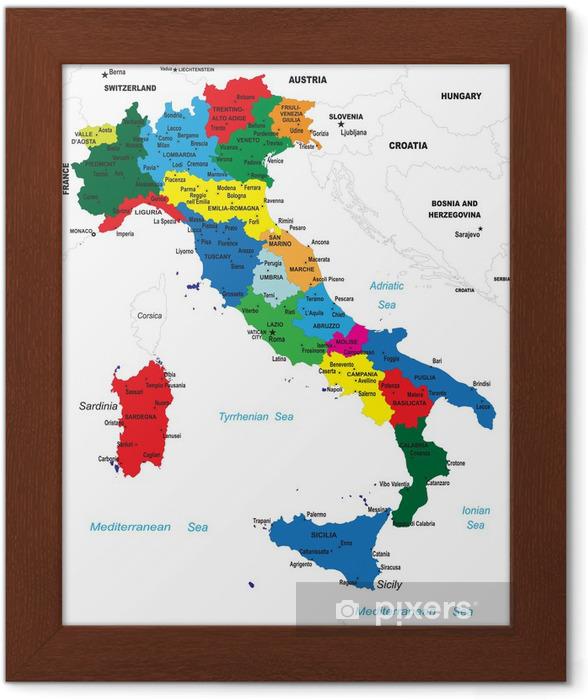 Ingelijste Poster Politieke kaart van Italië - Thema's