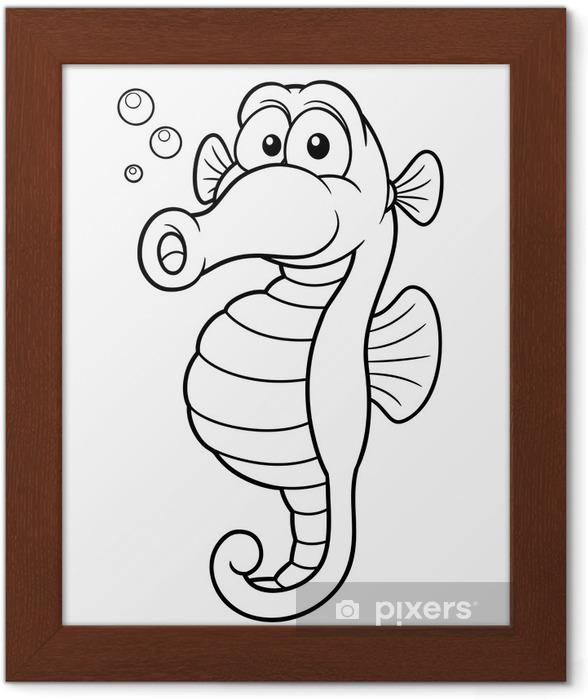 Denizatı Karikatür çizim Kitap Boyama çerçeveli Poster Pixers