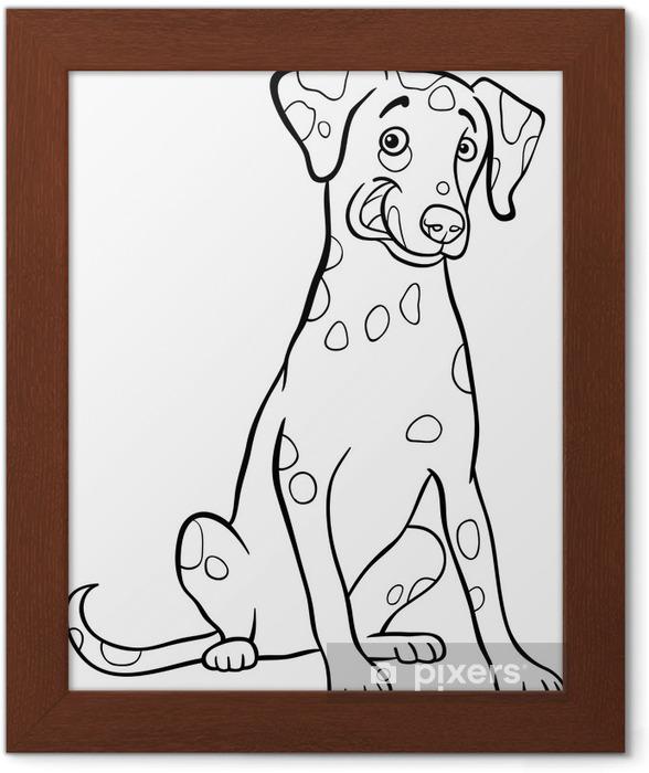 çerçeveli Poster Boyama Kitabı Için Dalmaçyalı Köpek Karikatür