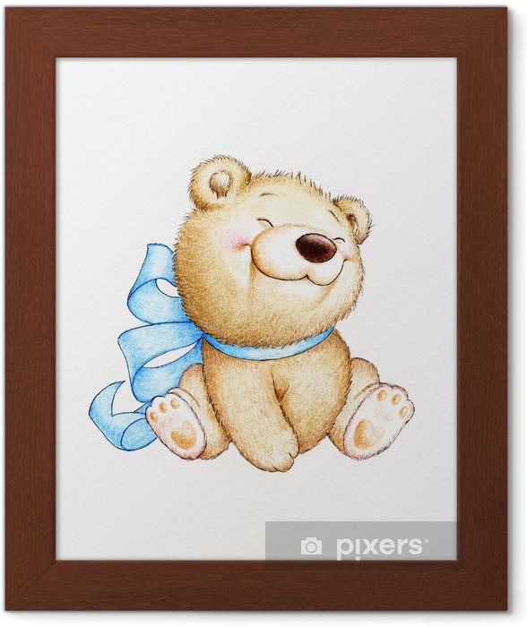 Póster Enmarcado Lindo oso de peluche - Para niña
