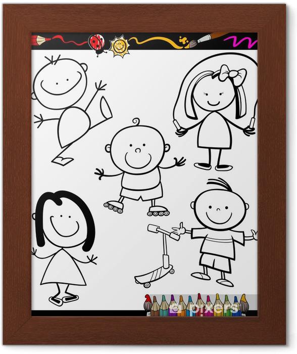 Mutlu Cocuklar Karikatur Boyama Kitabi Cerceveli Poster Pixers