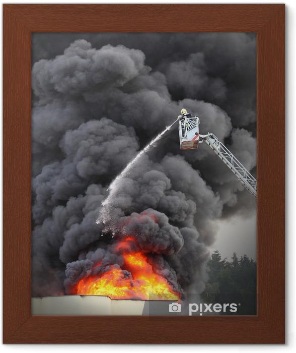 Ingelijste Poster Brandweerman en brandende huis. - Beroepen