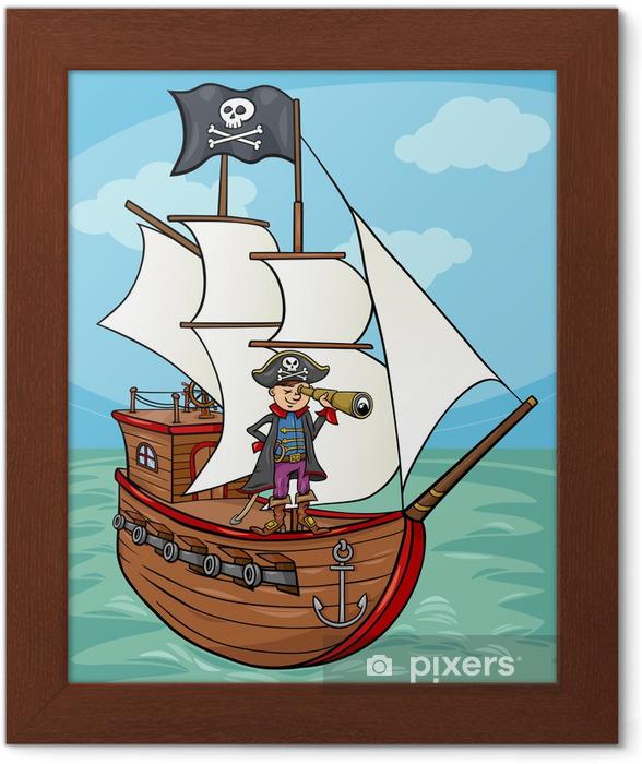 Poster en cadre Pirate cartoon illustration navire - Autres sentiments