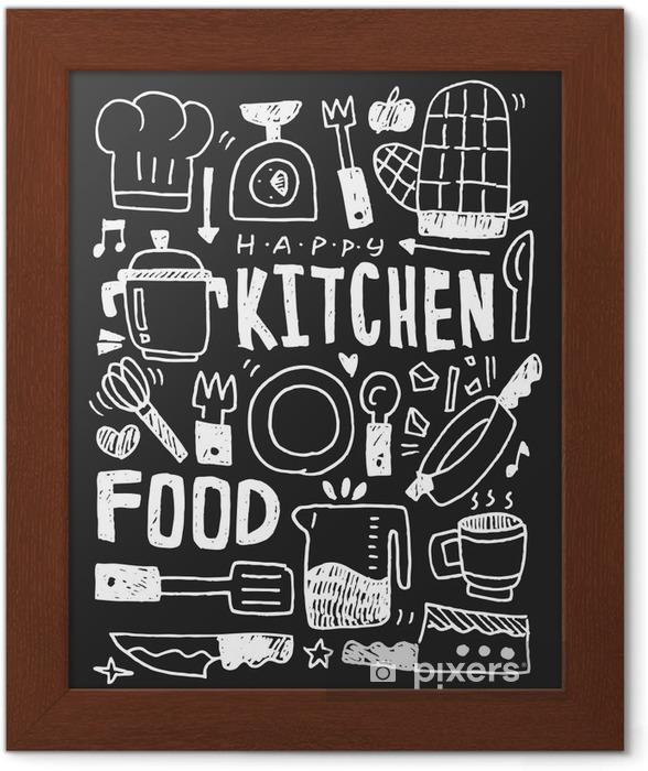 Keittiötekijät doodles käsin piirretty viiva kuvake, eps10 Kehystetty juliste - Graafiset Resurssit
