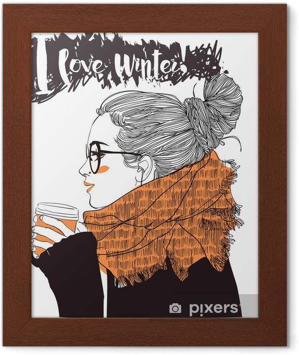 Póster Enmarcado Joven y bella mujer con la taza de café - Gente
