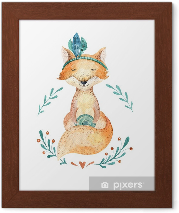 Cute baby fox animal for kindergarten, nursery isolated illustration for children clothing, pattern. WatercolorHand drawn boho image Perfect for phone cases design, nursery posters, postcards. Framed Poster - Animals