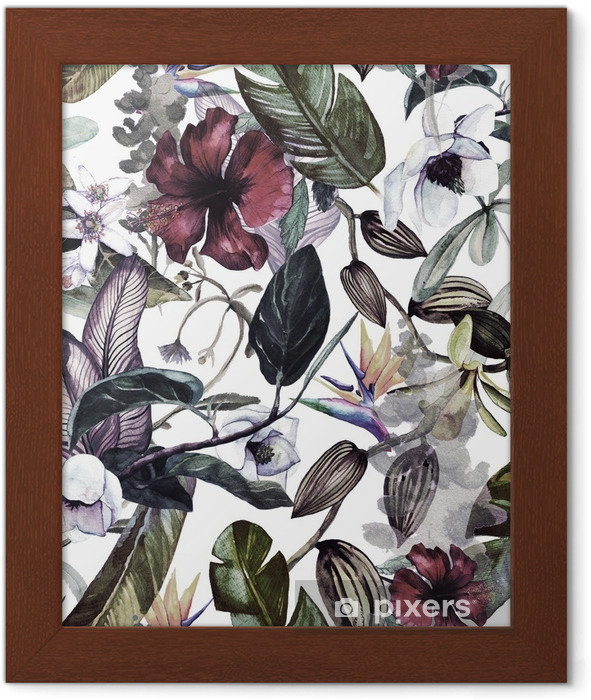 Seamless Watercolor Pattern With Tropical Flowers Magnolia Orange Flower Vanilla Orchid Tropical Leaves Banana Leaves Framed Poster Pixers We Live To Change