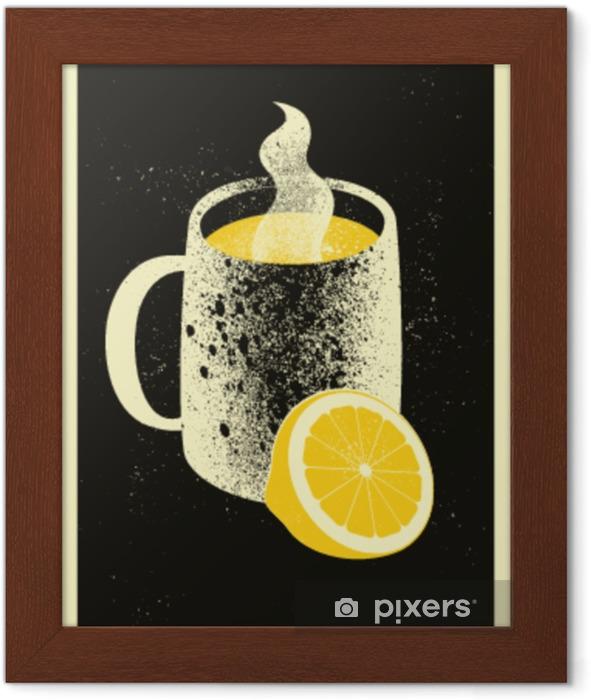 Póster com Moldura Caneca com bebida quente e limão. cartaz tipográfico do estilo do grunge do vintage do chá quente. ilustração vetorial retrô. - Bebidas