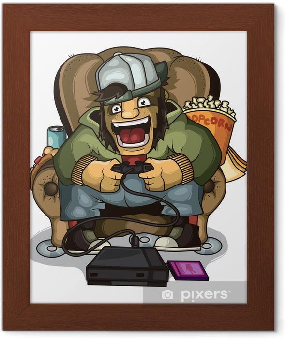 Plakat w ramie Gamer krzyczy - Gry
