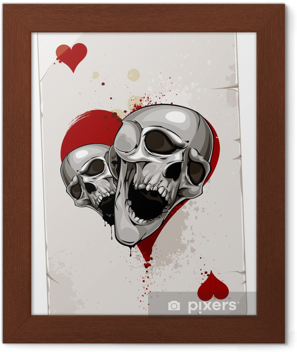 Poker card with skulls Framed Poster - Abstract