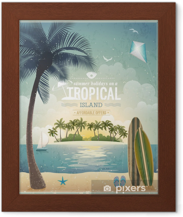 Vintage seaside view poster. Vector background. Framed Poster - Holidays