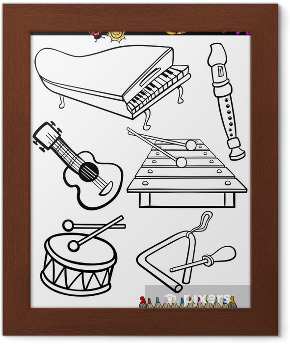 Karikatur Muzik Aletleri Boyama Cerceveli Poster Pixers Haydi