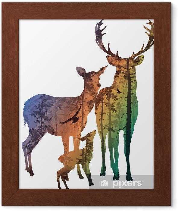 Gerahmtes Poster Deer Familie - Wälder