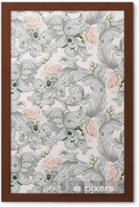 Poster en cadre Ornement de luxe rococo avec vecteur de fond de fleurs roses. délicats éléments complexes riches impériaux. modèle de style royal victorien - Plantes et fleurs