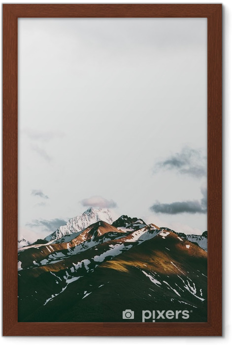 Gerahmtes Poster Sonnenuntergang Berge Landschaft Reisen ruhige Landschaft Luftaufnahme - Landschaften