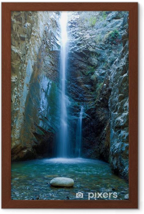 Gerahmtes Poster Chantara Wasserfälle in Trodos Bergen, Zypern - Themen