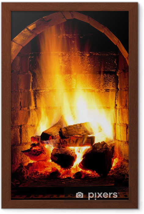 fire in fireplace Framed Poster - Themes