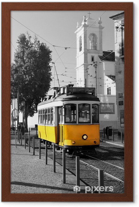 Lisbon old yellow tram over black and white background Framed Poster -