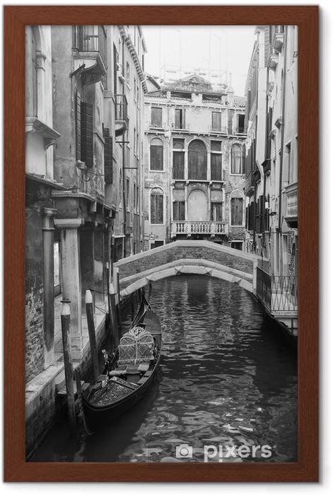 Poster en cadre Venise vue en noir et blanc - Styles