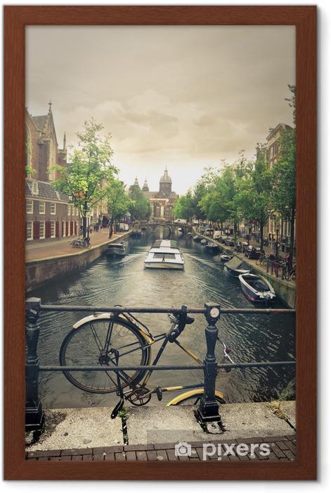 river in amsterdam Framed Poster - Bikes