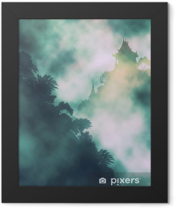 Mystic mountain temple Framed Poster - Landscapes
