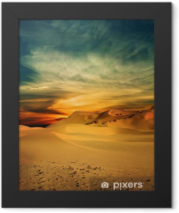 Sandy desert at sunset time Framed Poster - Themes