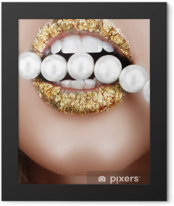 Poster en cadre Bouche feuille d'or avec des perles - Bouche
