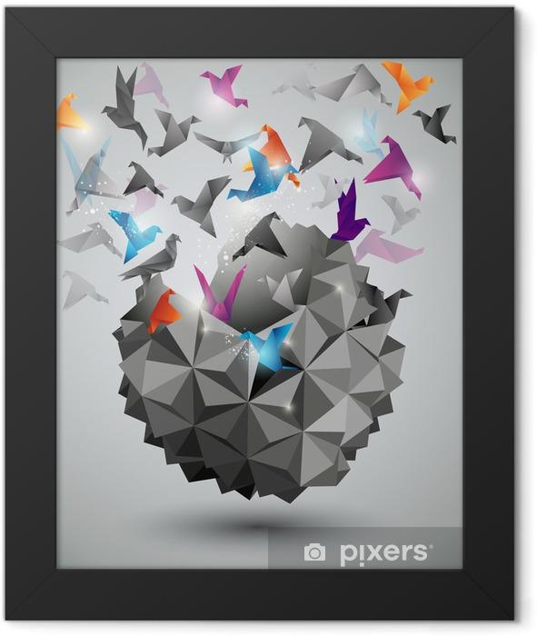 Plakat w ramie Wolność papieru, origami ilustracji abstrakcyjna. - Tematy
