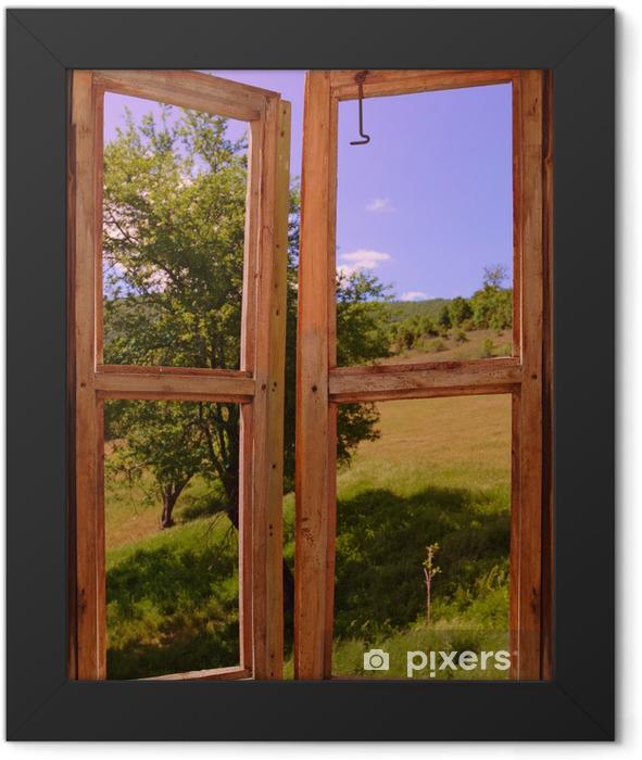 landscape seen through a window Framed Poster - Themes