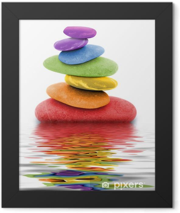 zen regenbogen kieselsteine im wasser Framed Poster - Themes