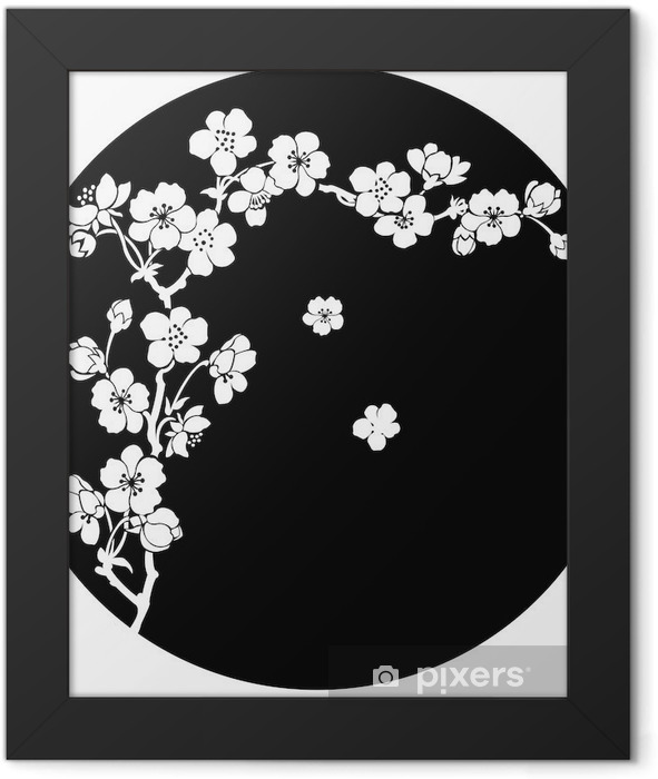 Blooming cherry in ink Framed Poster - Styles