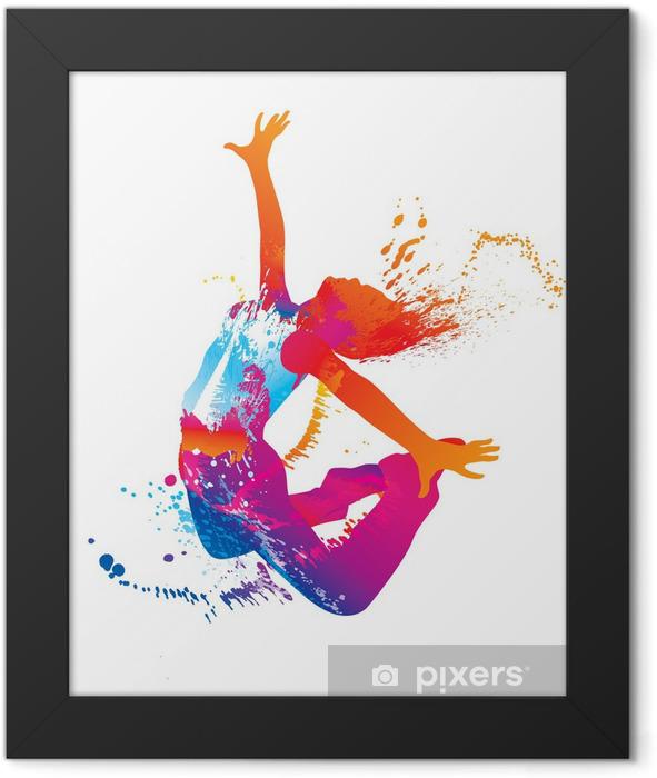 Plakat w ramie Dziewczyna tańczy z kolorowych plam i plamami na białym - Przeznaczenia