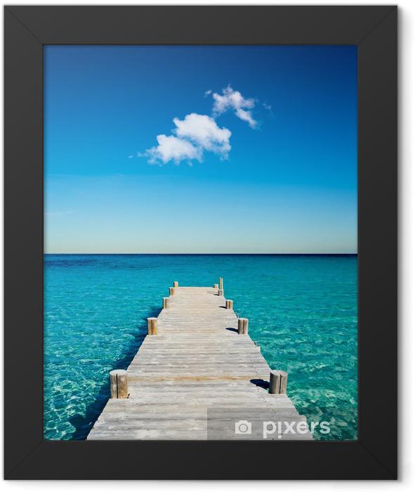 plage vacances ponton bois Framed Poster -