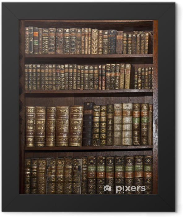 historic old books in old shelf library Framed Poster - Library