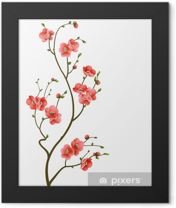 cherry blossom branch abstract background Framed Poster -