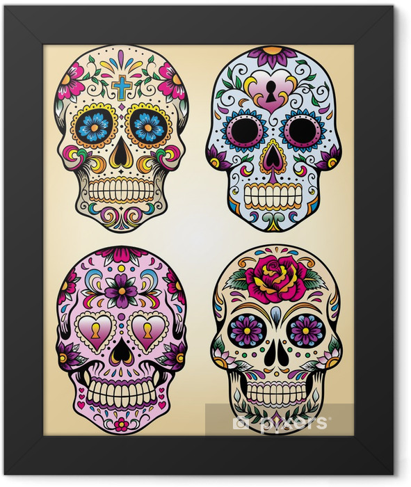 Day of the dead vector illustration set Framed Poster - Styles