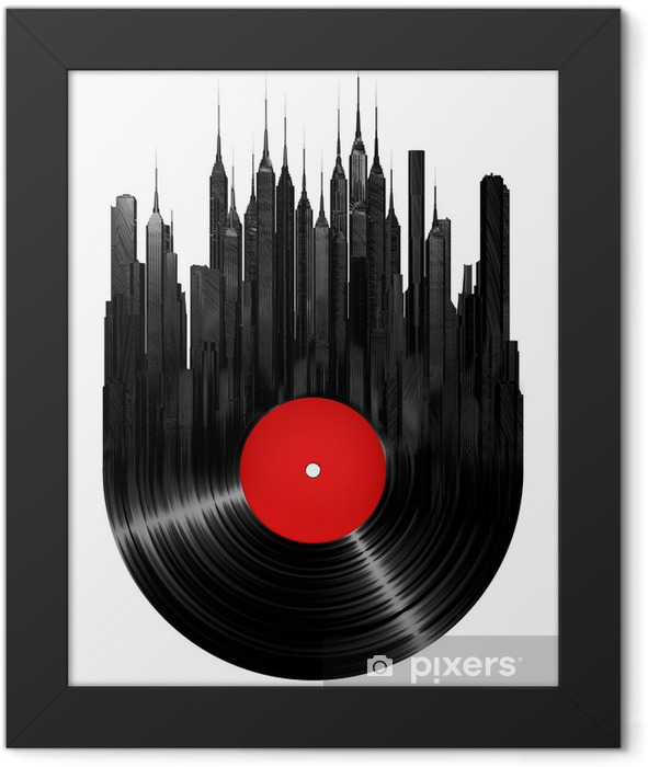 Vinyl city Framed Poster - Wall decals