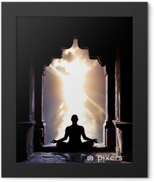 Yoga meditation in temple Framed Poster - Health