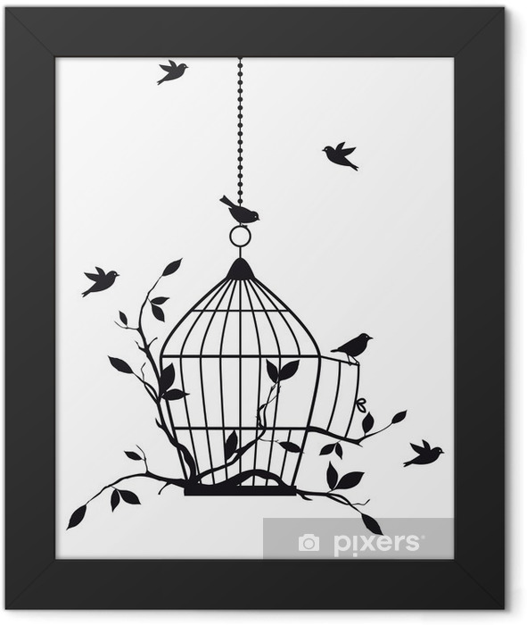 free birds with open birdcage, vector Framed Poster -
