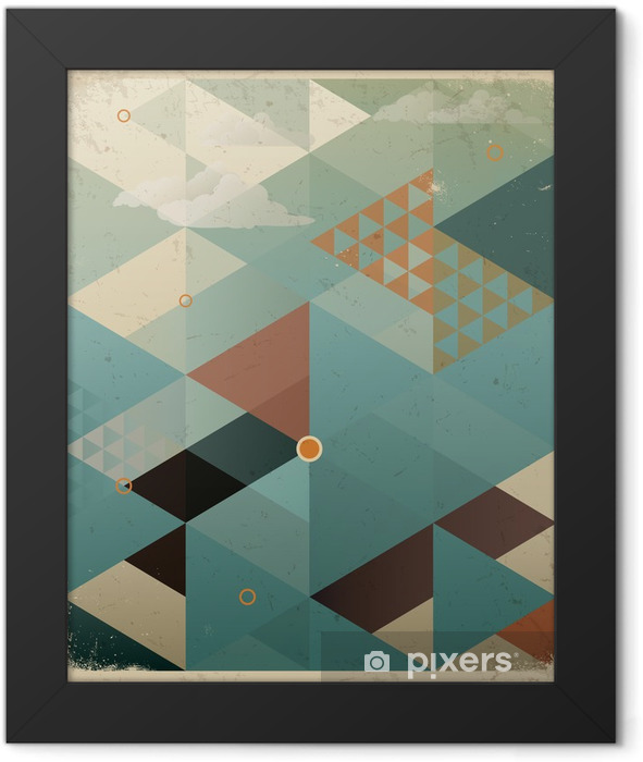 Abstract Retro Geometric Background with clouds Framed Poster -