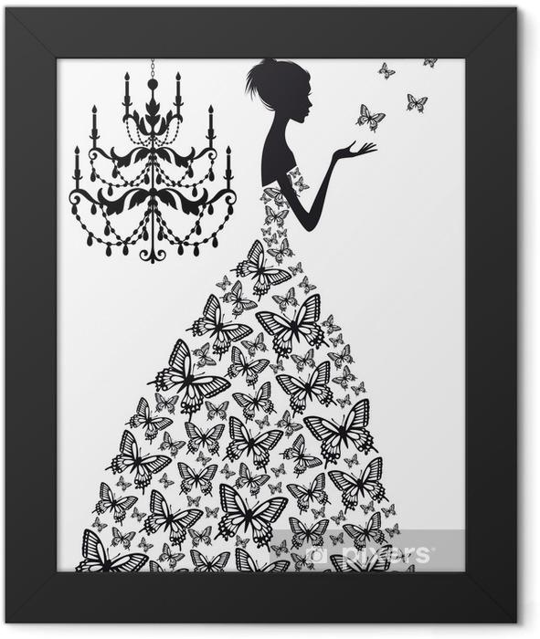 Plakat w ramie Kobieta z motylami, wektor - Moda