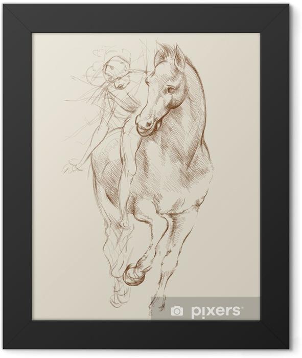 Ingelijste Poster Paard en ruiter. Gebaseerd op tekening van Leonardo da Vinci - Thema's