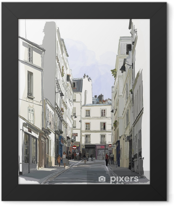 street near Montmartre in Paris Framed Poster - Buildings and Architecture