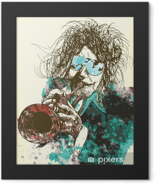 Musician, trumpeter. Hand drawing into vector Framed Poster - Jazz