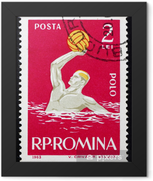 Postage stamp Romania 1963 Water Polo, Sport Framed Poster - Team Sports