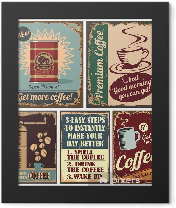 Plakat w ramie Archiwalne plakaty kawy i znaki metalowe - Do kuchni