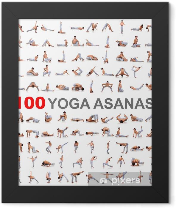 Plakat w ramie 100 jogi na białym tle - Sporty indywidualne