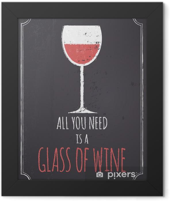 Plakat w ramie Tablica czerwony design wina - Style